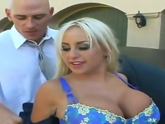 Blonde Savannah Gold with massive melons and smooth beaver wants Johnny Sins shove his worm in her desirous throat