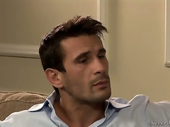 Darla Crane flirts on the couch with Manuel Ferrara.She is a super hot milf with massive boobs wearing a hawt black dress.Next thing you know she is down on the couch having her wet crack licked nice by Manuel.