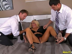 Levi and Preston notice this smoking sexy milf with a massive cleavage, and that babe doesnt mind coming along and playing with the boys. The horny milf takes on both their fat cocks!