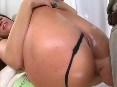India Summer slobbering and lewd while blowing and deep-throating a massive white knob that later goes unfathomable into her constricted but stretchy a-hole.