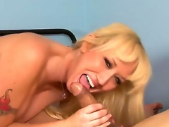 Stroke dick so well enjoying from the fascinating view of how wicked and raunchy blonde cougar Alana Evans is playing with plump ding-dong of dude! Oh, this babe knows how to engulf and stroke!