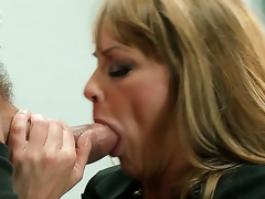 This hawt blonde milf Shayla Leveaux missed the young palpitating dick so much that when she receives it into the throat she starts working it up like a real dirty floozy