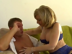 MILF Nina Hartley milks this boy, Bill Bailey dry. This sexy aged woman with great large marangos looks astonishing in her sexy lingerie as she goes down on this young mans young 10-Pounder and suck him until he cums with her experienced mouth.