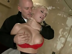 Sadistic dominant pornstar Mark Davis can't live without to play and have fun with provocative blond Jagger Jordan with giant knockers in red underware in rough face hole fucking thraldom act