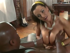 We all know that busty MILF Lisa Ann is a cheeky one but It looks like even she is not brave enough to take this biggest dark shaft in her pussy. See her acquire away with a titjob!