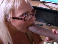 Cock hungry blond secretary Carly Parker with stunning melons and hawt glasses receives on knees and gives head to Justin Lengthy with enormous cock in hawt office action at lunch break