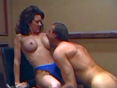 Slender smokin' hawt brunette milf Raquel Divine with round fake balloons and tight firm arse in blue lace undies gets licked good by her turned on husband with hawt body