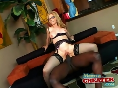 Milf Nina Hartley rides dark dick in sexy lingerie