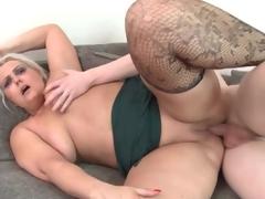 Fat wazoo old honey rides his juvenile dick