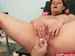 Huge tits plumper aged gyno doc check up