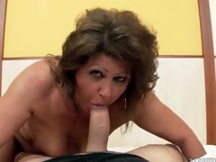 Chubby aged grinds her pussy on his dick