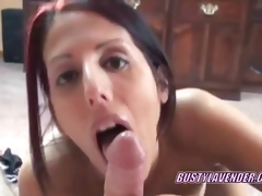 Oral-job redhead Lavender Rayne swallowing a pecker