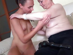OldNanny Nice youthful woman and old granny masturbated