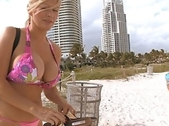 Busty Russian and 2 assholes