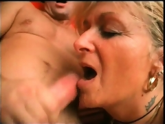 Horny blonde aged slut widens her legs and receives her moist