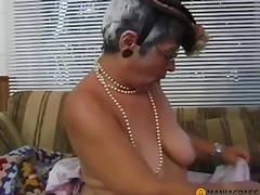 Gray-haired woman sucks rod