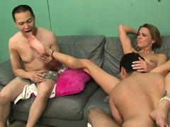 Blonde floozy forces her dude to watch as she receives screwed real hard