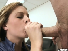 Naughty MILF gets caught masturbating on her desk and sucks the bosses ramrod