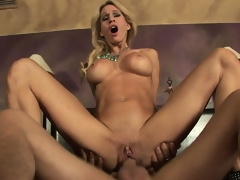 After engulfing cock, the hot MILF sweetheart Sarah Jessie acquires her pierced vagina banged