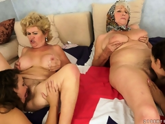 An orgy of pussy with old and juvenile lesbian babes munching the rug
