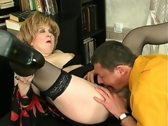 Naughty mature gal and younger man getting down and filthy in various ways