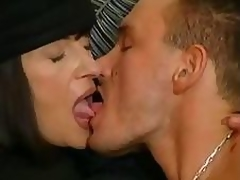 Mature brunette hair takes care of her gigolo with throat and pussy