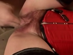 Matured brunette hair Eva acquires the brush hirsute vag toyed and screwed from bankrupt