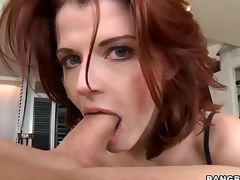 Redhead MILF Joslyn James is gracious and skillful . That babe gives amazing cook jerking and takes dick in her mouth before she makes it disappear in her hungry pussy.