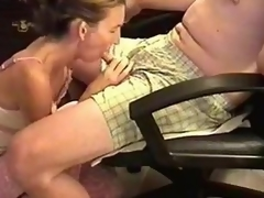 She was a bit shy because the camera was shooting, but likewise horny. I sat in an armchair and she knelt in front to wrap her lips around my cock. Then, she performed one of the superlatively good blowjobs ever.