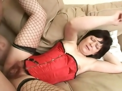Saggy Titted Brunette hair Older Acquires Her Hirsute Pussy Banged and Jizzed On